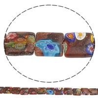 Goldsand Millefiori Glasperlen, Quadrat, handgemacht, verschiedene Größen vorhanden, Bohrung:ca. 1mm, Länge:ca. 15.3 ZollInch, verkauft von Tasche
