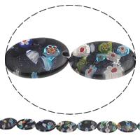 Blausand Millefiori Perle, flachoval, handgemacht, 18x25mm, Bohrung:ca. 1mm, Länge:ca. 14 ZollInch, 10SträngeStrang/Tasche, ca. 14PCs/Strang, verkauft von Tasche