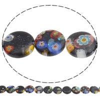 Blausand Millefiori Perle, flache Runde, handgemacht, 12x3mm, Bohrung:ca. 1mm, Länge:ca. 14.7 ZollInch, 10SträngeStrang/Tasche, ca. 32PCs/Strang, verkauft von Tasche