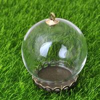 Glas Glassturz Anhänger, mit Zinklegierung, plattiert, klar, frei von Nickel, Blei & Kadmium, 30mm, Bohrung:ca. 2mm, 40PCs/Menge, verkauft von Menge