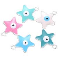 Evil Eye Anhänger, Zinklegierung, Stern, silberfarben plattiert, böser Blick- Muster & Emaille, keine, frei von Nickel, Blei & Kadmium, 17x21mm, Bohrung:ca. 2mm, 500PCs/Menge, verkauft von Menge