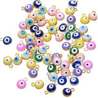 Evil Eye Anhänger, Zinklegierung, blöser Blick, plattiert, Emaille, keine, frei von Nickel, Blei & Kadmium, 7x9mm, Bohrung:ca. 1.4mm, 500PCs/Menge, verkauft von Menge