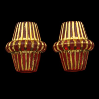 Golddruck Acryl Perlen, Doppelkegel, transparent, rot, 14x17mm, Bohrung:ca. 3mm, ca. 480PCs/Tasche, verkauft von Tasche