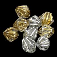 Silberdruck Acrylperlen, Acryl, Doppelkegel, transparent & verschiedene Stile für Wahl, 4x4mm, Bohrung:ca. 1mm, ca. 10000PCs/Tasche, verkauft von Tasche