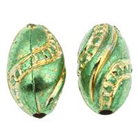 Golddruck Acryl Perlen, oval, grün, 8x13mm, Bohrung:ca. 1mm, ca. 1300PCs/Tasche, verkauft von Tasche