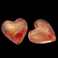 Goldfolie Lampwork Perlen, Herz, handgemacht, rote Orange, 20x19x13mm-21x21x14mm, Bohrung:ca. 1mm, 20PCs/Tasche, verkauft von Tasche