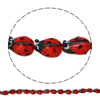 Handgewickelte Perlen, Lampwork, Herz, handgemacht, rote Orange, 15x11x9mm, Bohrung:ca. 1mm, 100PCs/Tasche, verkauft von Tasche