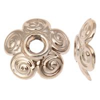 Zinklegierung Perlenkappe, Blume, vergoldet, hochwertige Beschichtung und nie verblassen, frei von Blei & Kadmium, 10x3mm, Bohrung:ca. 2mm, 20PCs/Tasche, verkauft von Tasche