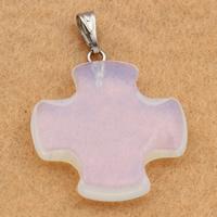 Opal Anhänger, mit Messing Stiftöse, Kreuz, Platinfarbe platiniert, 25x25x5mm, Bohrung:ca. 2x5mm, 10PCs/Tasche, verkauft von Tasche