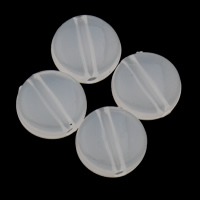 Gelee-Stil-Acryl-Perlen, Acryl, flache Runde, Gellee Stil, weiß, 9x4mm, Bohrung:ca. 1mm, 2Taschen/Menge, ca. 1660PCs/Tasche, verkauft von Menge