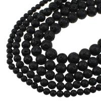 Natürliche Lava Perlen, rund, verschiedene Größen vorhanden, Bohrung:ca. 1.2mm, verkauft per ca. 15 ZollInch Strang
