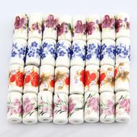 Kunstdruck Porzellan Perlen, Rohr, verschiedene Muster für Wahl, 9x17mm, Bohrung:ca. 3mm, 200PCs/Tasche, verkauft von Tasche