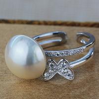 Mabe-Perle Manschette Fingerring, mit Messing, Dom, natürlich, Micro pave Zirkonia, weiß, 13-13.5mm, Größe:6.5, verkauft von PC