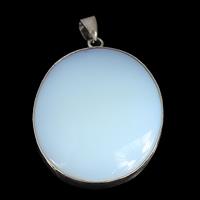 Opal Anhänger, mit Messing, flachoval, Platinfarbe platiniert, frei von Nickel, Blei & Kadmium, 31x45x7mm, Bohrung:ca. 4x5.5mm, 10PCs/Menge, verkauft von Menge