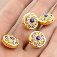 Cloisonne Perlen, Cloisonné, flache Runde, vergoldet, hohl, frei von Blei & Kadmium, 15.7x9mm, Bohrung:ca. 1.5mm, verkauft von PC