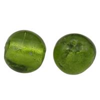 Silberfolie Lampwork Perlen, rund, handgemacht, verschiedene Größen vorhanden, grün, Bohrung:ca. 2mm, verkauft von Tasche