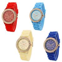 Damen Armbanduhr, Silikon, mit Glas & Zinklegierung, Rósegold-Farbe plattiert, mit Strass, keine, frei von Nickel, Blei & Kadmium, 40mm, Länge:ca. 9.6 ZollInch, verkauft von PC
