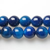 Natürliche blaue Achat Perlen, Blauer Achat, rund, verschiedene Größen vorhanden, Bohrung:ca. 1-1.5mm, verkauft per 15 ZollInch Strang