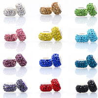 Strass Perlen European Stil, Lehm pflastern, Rondell, silberfarben plattiert, einadriges Kabel Messing ohne troll & mit Strass, keine, frei von Nickel, Blei & Kadmium, 12mm, Bohrung:ca. 5mm, 100PCs/Menge, verkauft von Menge