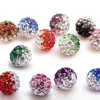Strass Ton befestigte Perlen, Lehm pflastern, rund, mit Strass, keine, frei von Nickel, Blei & Kadmium, 10mm, Bohrung:ca. 1mm, 150PCs/Menge, verkauft von Menge