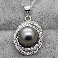 Tahiti Perlen Anhänger, mit Messing, rund, natürlich, Micro pave Zirkonia, schwarz, 9-10mm, Bohrung:ca. 3-7mm, verkauft von PC