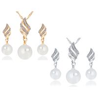 Zinklegierung Schmucksets, Ohrring & Halskette, mit Kunststoff Perlen, plattiert, Twist oval & mit Strass, keine, 10x40mm, Länge:ca. 15.7 ZollInch, verkauft von setzen