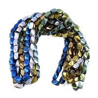 Hämatit Perle, oval, plattiert, verschiedenen Materialien für die Wahl, keine, 8x5x5mm, Bohrung:ca. 1.2mm, Länge:ca. 16 ZollInch, 10SträngeStrang/Menge, ca. 50PCs/Strang, verkauft von Menge