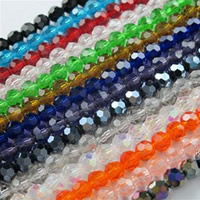 Runde Kristallperlen, Kristall, bunte Farbe plattiert, facettierte, mehrere Farben vorhanden, 4mm, Bohrung:ca. 1mm, Länge:ca. 16 ZollInch, 10SträngeStrang/Tasche, ca. 100PCs/Strang, verkauft von Tasche