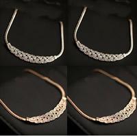 Zinklegierung Schmuck Halskette, mit Eisenkette, mit Verlängerungskettchen von 5.5cm, plattiert, Schlangekette & mit Strass, keine, frei von Nickel, Blei & Kadmium, 1cm, verkauft per ca. 16.5 ZollInch Strang