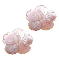 Natürliche Rosa Muschelperlen, Blume, 33.50x33x1.50mm, Bohrung:ca. 1mm, 10PCs/Menge, verkauft von Menge
