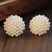 Zinklegierung Ohrstecker, Edelstahl Stecker, goldfarben plattiert, mit Kunststoff-Perlen, frei von Nickel, Blei & Kadmium, 16mm, verkauft von Paar