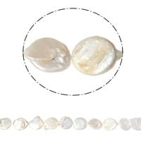 Münze Süßwasser Zuchtperlen, Natürliche kultivierte Süßwasserperlen, natürlich, weiß, 18-22mm, Bohrung:ca. 0.8mm, verkauft per ca. 15.7 ZollInch Strang