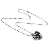 Edelstahl Schmuck Halskette, mit Schwarzer Achat, Herz, natürlich, Kastenkette, originale Farbe, 25x32x16mm, 2mm, verkauft per ca. 19 ZollInch Strang