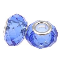 European Kristall Perlen, Rondell, Sterling Silber-Dual-Core ohne troll, heller Saphir, 14x9mm, Bohrung:ca. 5mm, 20PCs/Tasche, verkauft von Tasche