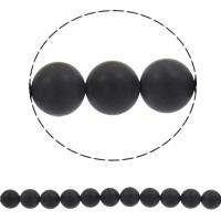 Natürliche schwarze Achat Perlen, Schwarzer Achat, rund, synthetisch, verschiedene Größen vorhanden & satiniert, Bohrung:ca. 1mm, verkauft per ca. 15 ZollInch Strang