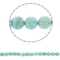 Türkis Perlen, Synthetische Türkis, rund, verschiedene Größen vorhanden, blau, Bohrung:ca. 1mm, verkauft per ca. 15.5 ZollInch Strang