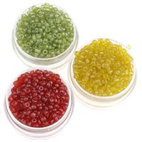 Glänzende Glas-Rocailles, rund, Schimmer, keine, 2x3mm, Bohrung:ca. 1mm, ca. 1600PCs/Tasche, verkauft von Tasche