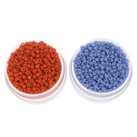 Volltonfarbe Glas Rocailles, Glas-Rocailles, rund, keine, 2x1.9mm, Bohrung:ca. 1mm, ca. 30000PCs/Tasche, verkauft von Tasche