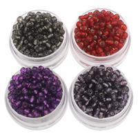Silbereinzug Glas Rocailles, Glas-Rocailles, rund, keine, 3x3.6mm, Bohrung:ca. 1.5mm, ca. 5000PCs/Tasche, verkauft von Tasche