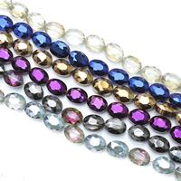 Kristall-Perlen, Kristall, flachoval, bunte Farbe plattiert, facettierte, mehrere Farben vorhanden, 12x9x7mm, Bohrung:ca. 1mm, ca. 60PCs/Strang, verkauft per ca. 27.5 ZollInch Strang
