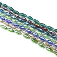 Ovale Kristallperlen, Kristall, bunte Farbe plattiert, facettierte, mehrere Farben vorhanden, 8x17mm, Bohrung:ca. 1mm, ca. 40PCs/Strang, verkauft per ca. 26 ZollInch Strang