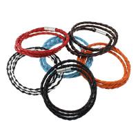 PU Schnur Armbänder, PU Leder, Messing Bajonettverschluss, Platinfarbe platiniert, 3-Strang, keine, frei von Nickel, Blei & Kadmium, 4mm,16.5x5mm, verkauft per 23 ZollInch Strang