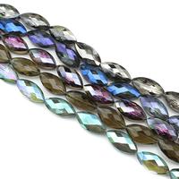 Kristall-Perlen, Kristall, Pferdeauge, bunte Farbe plattiert, facettierte, mehrere Farben vorhanden, 12x24x9mm, Bohrung:ca. 1mm, ca. 30PCs/Strang, verkauft per ca. 27.5 ZollInch Strang