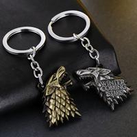 Zinklegierung Schlüsselanhänger, Wolf, plattiert, mit Brief Muster, keine, frei von Nickel, Blei & Kadmium, 42x35mm, verkauft von Strang
