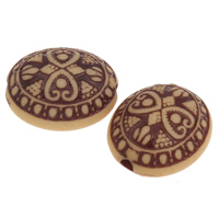 Imitation Ox Bone Acryl-Perlen, Acryl, flachoval, Imitation Rind Knochen, Kaffeefarbe, 21x18x13mm, Bohrung:ca. 2.5mm, 2Taschen/Menge, ca. 174PCs/Tasche, verkauft von Menge