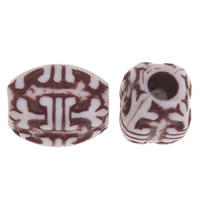 Imitation Ox Bone Acryl-Perlen, Acryl, Rechteck, Imitation Rind Knochen, Kaffeefarbe, 13x9mm, Bohrung:ca. 3.5mm, 2Taschen/Menge, ca. 860PCs/Tasche, verkauft von Menge