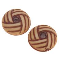 Imitation Ox Bone Acryl-Perlen, Acryl, flache Runde, Imitation Rind Knochen, Kaffeefarbe, 10x5mm, Bohrung:ca. 1mm, 2Taschen/Menge, ca. 1970PCs/Tasche, verkauft von Menge