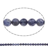 Blauer Tupfen Stein Perlen, blauer Punkt, rund, natürlich, verschiedene Größen vorhanden, Bohrung:ca. 1mm, Länge:ca. 15 ZollInch, verkauft von Tasche