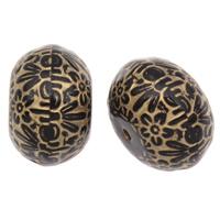 Golddruck Acryl Perlen, Rondell, Volltonfarbe, schwarz, 12x21mm, Bohrung:ca. 1mm, 2Taschen/Menge, ca. 120PCs/Tasche, verkauft von Menge