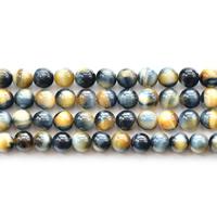 Tigerauge Perlen, rund, natürlich, verschiedene Größen vorhanden, Bohrung:ca. 1mm, verkauft per ca. 15.5 ZollInch Strang